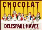 French Chocolat Delespaul Havez Metal Plaque Sign